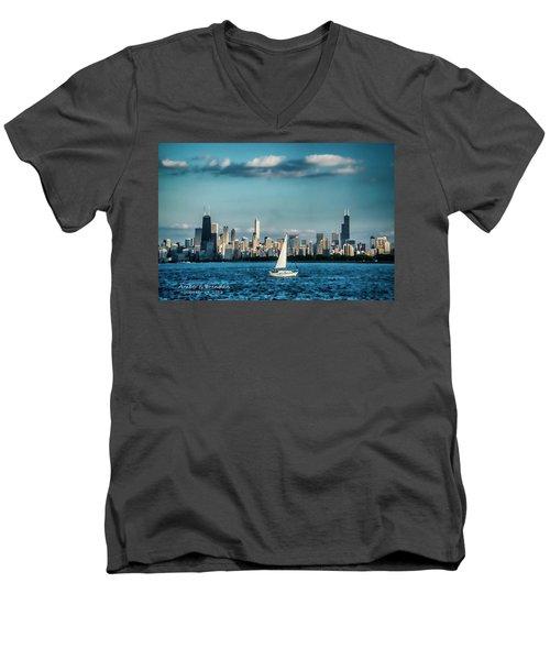 Evan's Chicago Skyline  Men's V-Neck T-Shirt
