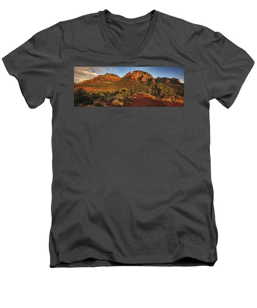 Evening At Dry Creek Vista Txt Men's V-Neck T-Shirt