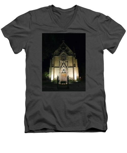 Men's V-Neck T-Shirt featuring the photograph Evening At Loretto Chapel Santa Fe by Kurt Van Wagner