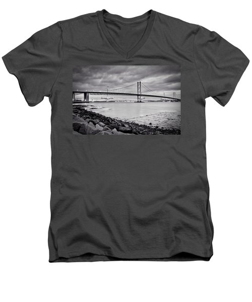 Men's V-Neck T-Shirt featuring the photograph Evening At The Forth Road Bridges by RKAB Works
