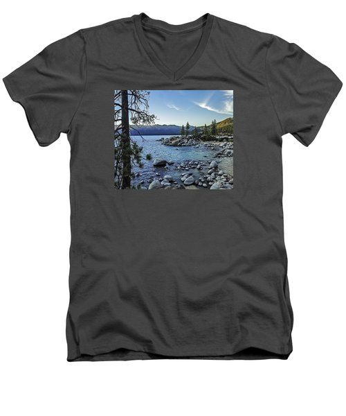 Men's V-Neck T-Shirt featuring the photograph Evening At The Harbor-edit by Nancy Marie Ricketts