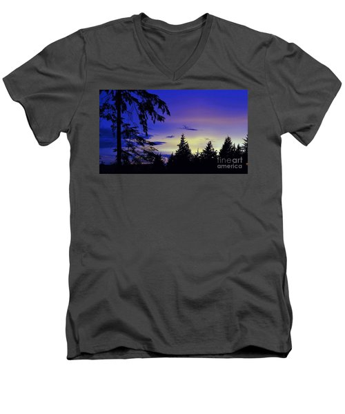 Men's V-Neck T-Shirt featuring the photograph Evening Blue by Victor K