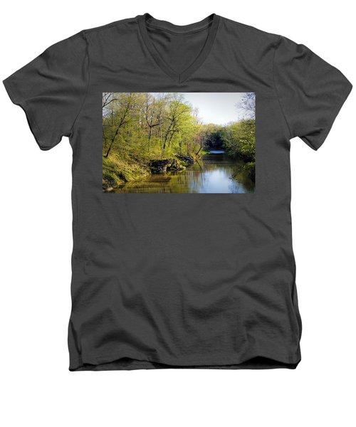Evening Falls On Cedar Creek Men's V-Neck T-Shirt