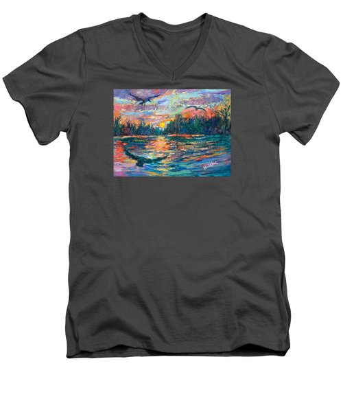 Men's V-Neck T-Shirt featuring the painting Evening Flight by Kendall Kessler