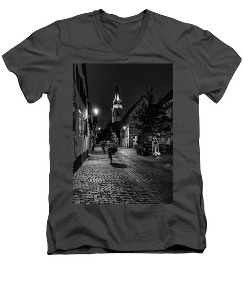 Men's V-Neck T-Shirt featuring the photograph Evening In Bergheim by Alan Toepfer
