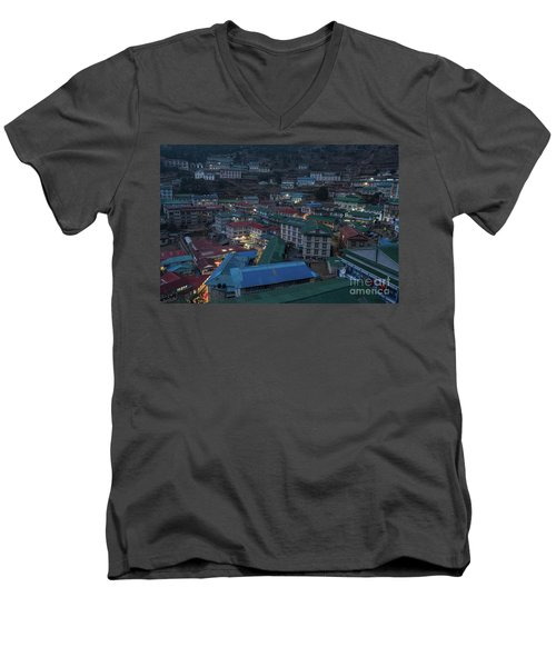 Men's V-Neck T-Shirt featuring the photograph Evening In Namche Nepal by Mike Reid
