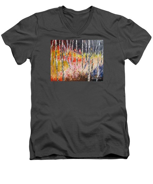 Evening In The Woods Pallet Knife Painting Men's V-Neck T-Shirt by Lisa Boyd