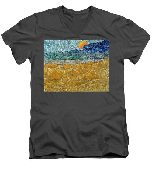Men's V-Neck T-Shirt featuring the painting Evening Landscape With Rising Moon by Van Gogh