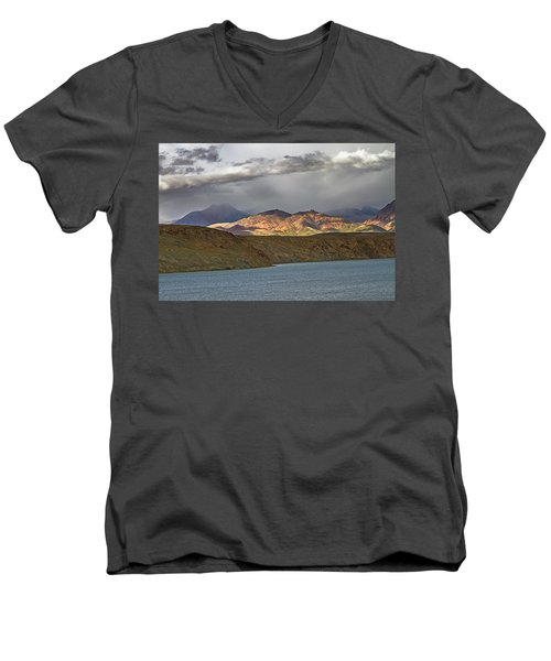 Men's V-Neck T-Shirt featuring the photograph Evening Light 1, Chiu, 2011 by Hitendra SINKAR