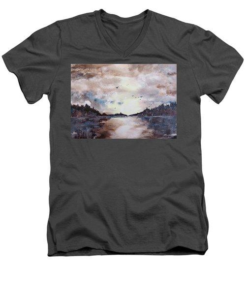 Men's V-Neck T-Shirt featuring the painting Evening Light by Geni Gorani