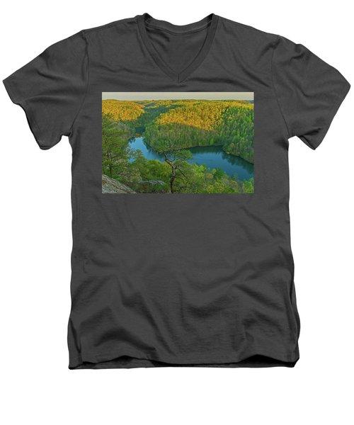 Evening Light In The Hills. Men's V-Neck T-Shirt