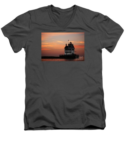 Evening Lighthouse 5 Men's V-Neck T-Shirt