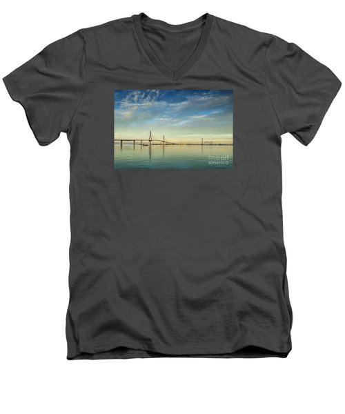 Evening Lights On The Bay Cadiz Spain Men's V-Neck T-Shirt by Pablo Avanzini