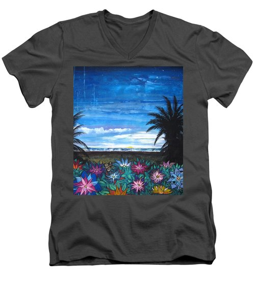 Tropical Evening Men's V-Neck T-Shirt by Mary Ellen Frazee