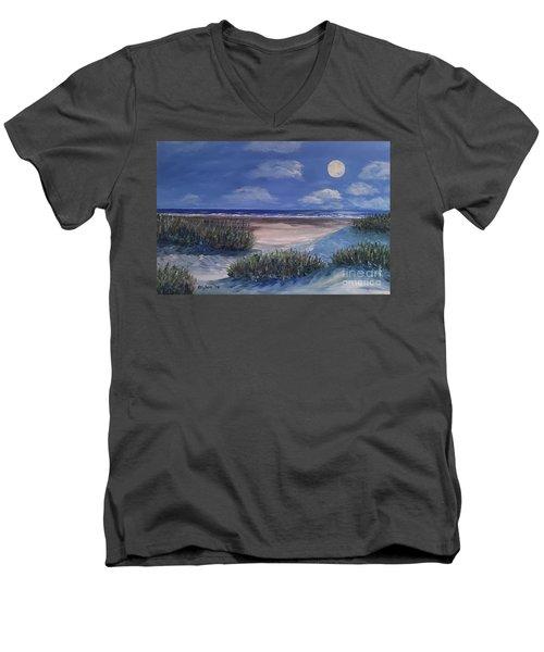 Evening Moon Men's V-Neck T-Shirt