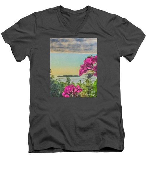 Men's V-Neck T-Shirt featuring the photograph Islands Of The Salish Sea by William Wyckoff