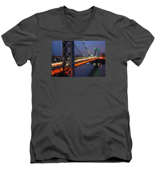 Evening On The George Washington Bridge Men's V-Neck T-Shirt by James Kirkikis