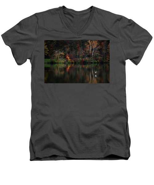 Evening On The Lake Men's V-Neck T-Shirt by Rowana Ray