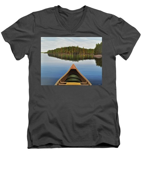 Evening Paddle  Men's V-Neck T-Shirt by Kenneth M  Kirsch