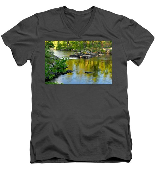 Evening Reflections At Lower Basswood Falls Men's V-Neck T-Shirt