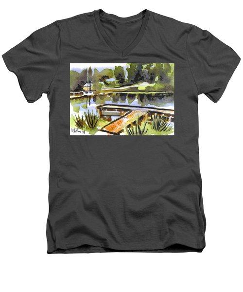 Evening Shadows At Shepherd Mountain Lake Men's V-Neck T-Shirt