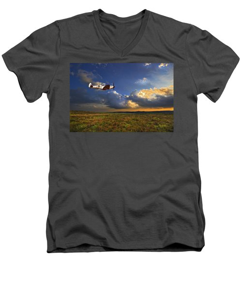 Evening Spitfire Men's V-Neck T-Shirt by Meirion Matthias