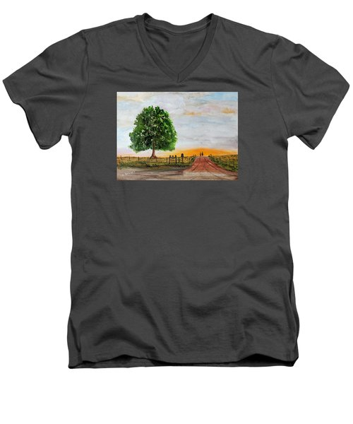 Men's V-Neck T-Shirt featuring the painting Evening Stroll by Jack G Brauer
