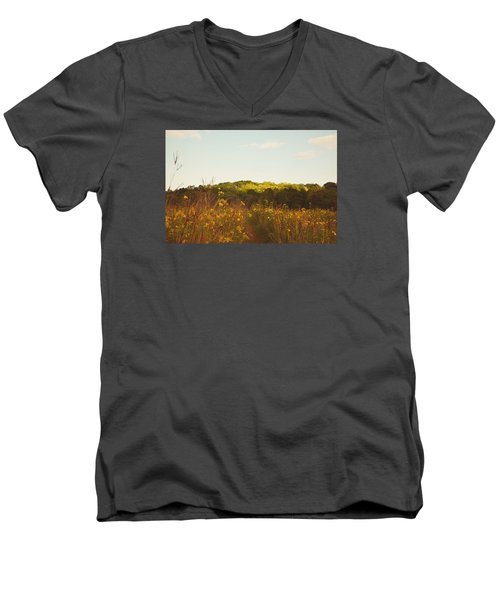 Men's V-Neck T-Shirt featuring the photograph Evening Sunset Glow by Nikki McInnes