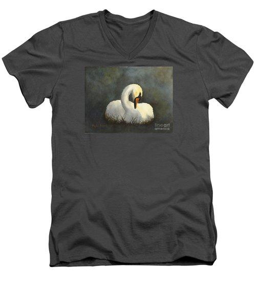 Evening Swan Men's V-Neck T-Shirt by Phyllis Howard