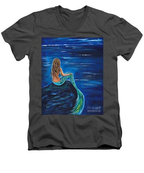 Evening Tide Mermaid Men's V-Neck T-Shirt by Leslie Allen