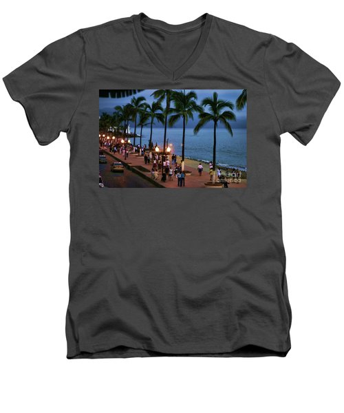 Evenings On The Malecon Men's V-Neck T-Shirt by Chuck Kuhn