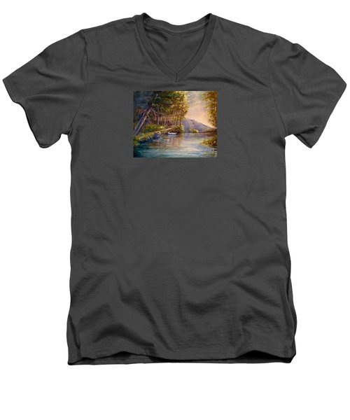 Men's V-Neck T-Shirt featuring the painting Evening's Twilight by Patricia Schneider Mitchell