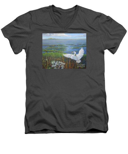 Everglades Egret Men's V-Neck T-Shirt by Anne Marie Brown