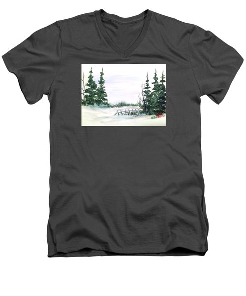 Men's V-Neck T-Shirt featuring the painting Evergreens In Snow by Dorothy Maier