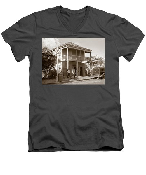Everyone Says Hi - From Pepes Cafe Key West Florida Men's V-Neck T-Shirt by John Stephens