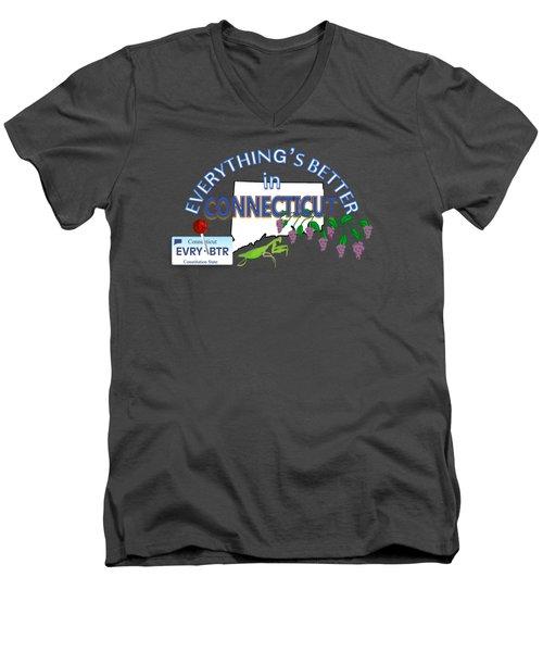 Everything's Better In Connecticut Men's V-Neck T-Shirt by Pharris Art