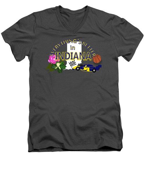Everything's Better In Indiana Men's V-Neck T-Shirt by Pharris Art