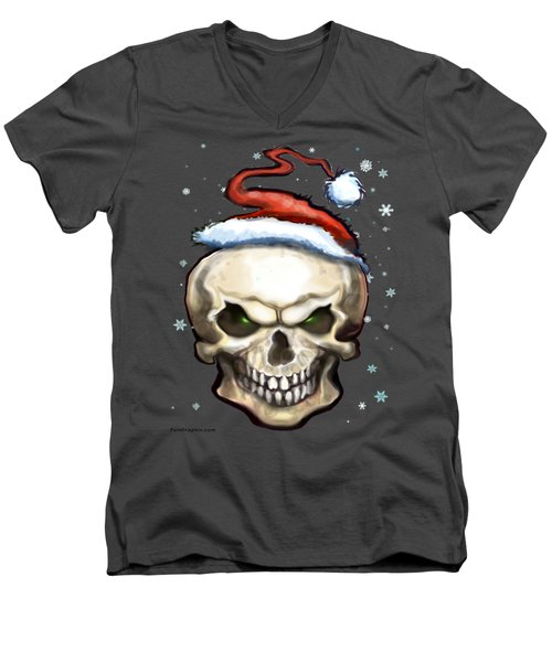 Evil Christmas Skull Men's V-Neck T-Shirt by Kevin Middleton