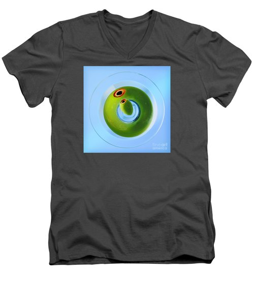 Men's V-Neck T-Shirt featuring the photograph Olive Eye by Martin Konopacki