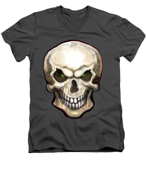 Men's V-Neck T-Shirt featuring the painting Evil Skull by Kevin Middleton