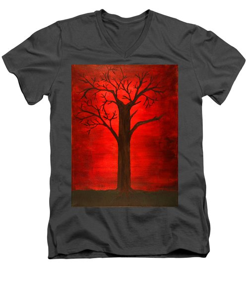 Evil Tree Men's V-Neck T-Shirt by David Stasiak