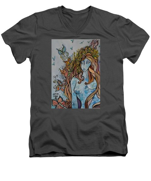 Evolve Men's V-Neck T-Shirt by Claudia Cole Meek