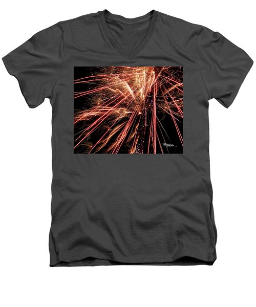 Men's V-Neck T-Shirt featuring the photograph Exciting Fireworks #0734 by Barbara Tristan
