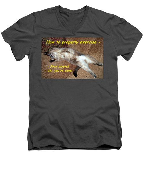 Men's V-Neck T-Shirt featuring the photograph Exercise 101 by Betty Northcutt