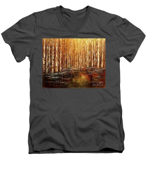 Men's V-Neck T-Shirt featuring the painting Exploration Of Ohio by Tatiana Iliina