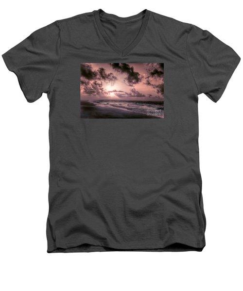 Explosive Sunrise On Ocracoke Outer Banks Men's V-Neck T-Shirt by Dan Carmichael