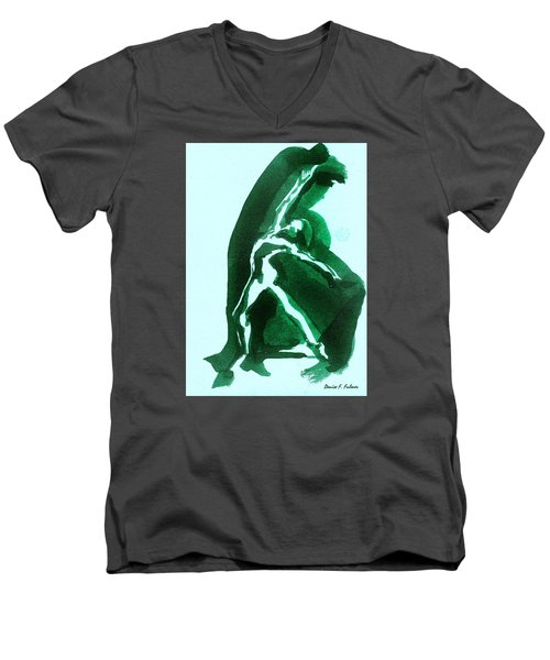 Men's V-Neck T-Shirt featuring the drawing Expressions by Denise Fulmer