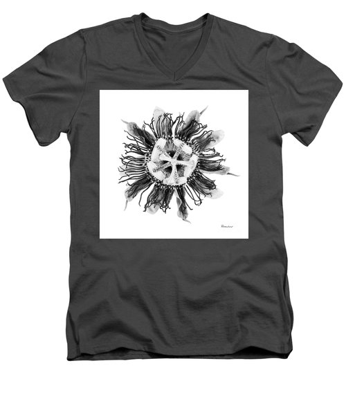 Expressive Passion Flower In Grayscale 50674g Men's V-Neck T-Shirt