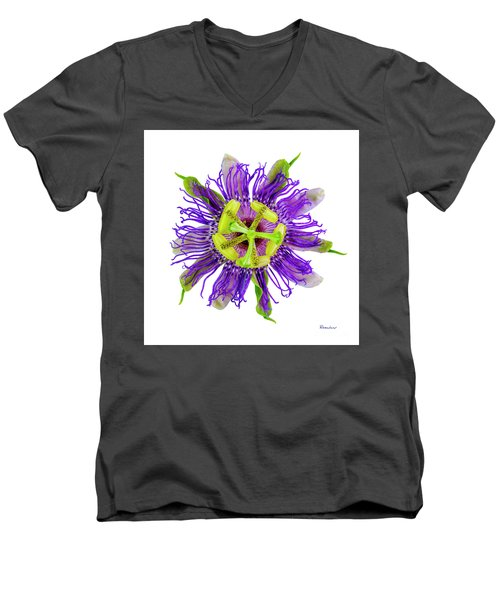 Expressive Yellow Green And Violet Passion Flower 50674a Men's V-Neck T-Shirt