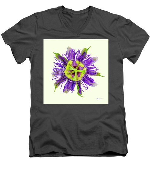 Expressive Yellow Green And Violet Passion Flower 50674y Men's V-Neck T-Shirt